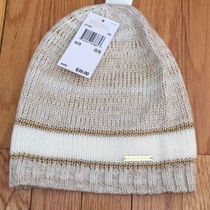 NWT Michael Kors Cream & Gold Hat